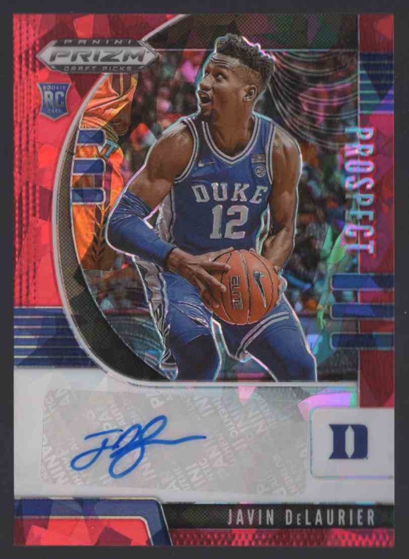 2020-21 Panini Prizm Draft Picks Prospect Autographs Red Ice Javin DeLaurier #40 card front image