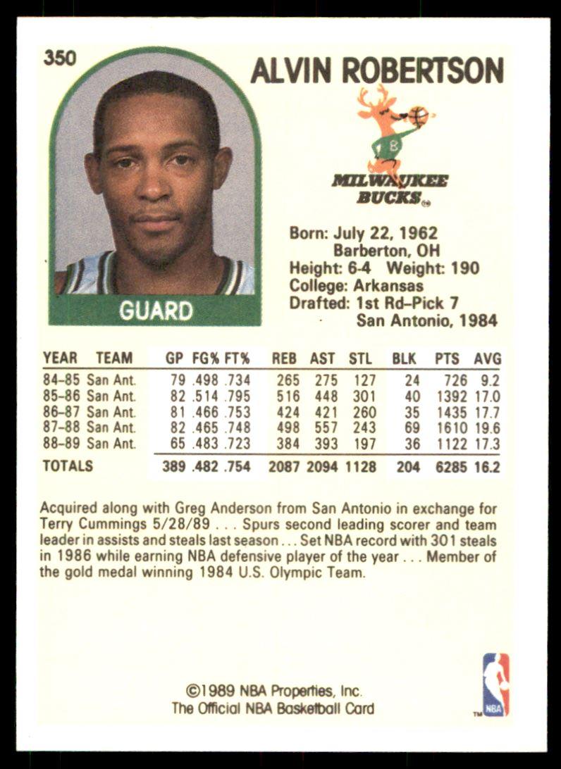 1989 90 Nba Hoops Alvin Robertson 350 on Kronozio