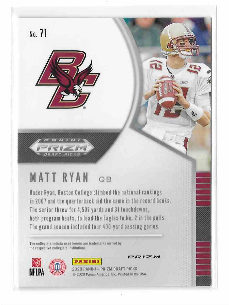 2020 Panini Prizm Draft Picks Purple Matt Ryan #71 card back image