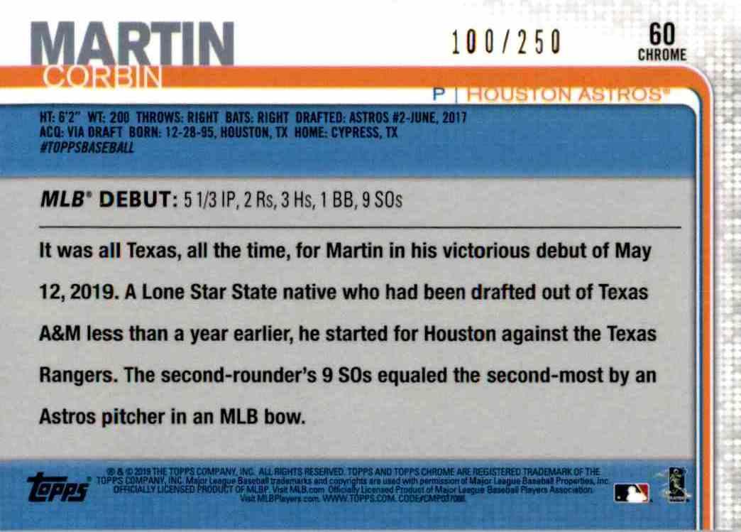 2019 Topps Chrome Rookie Debut Corbin Martin #60 card back image
