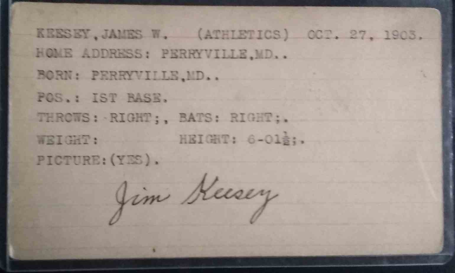 1925 3X5 Jim Keesey card back image