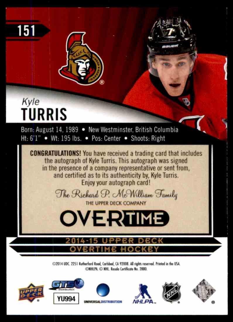 2014-15 Upper Deck Overtime Kyle Turris #151 card back image