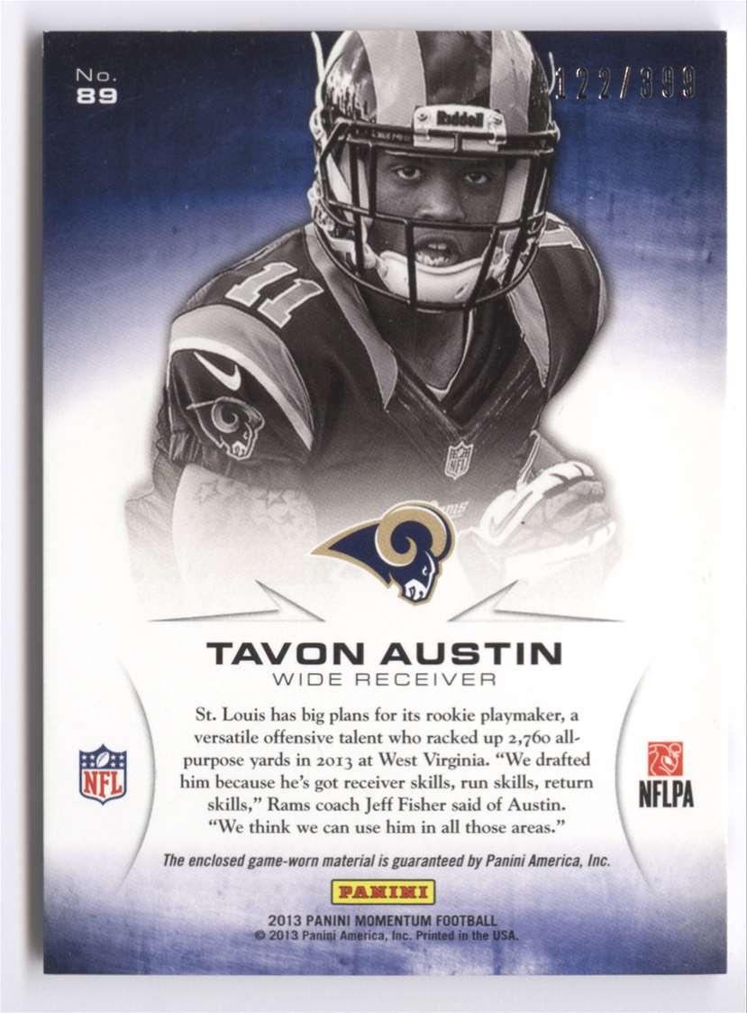 2013 Panini Momentum Rookie Initiation Materials Tavon Austin #89 card back image