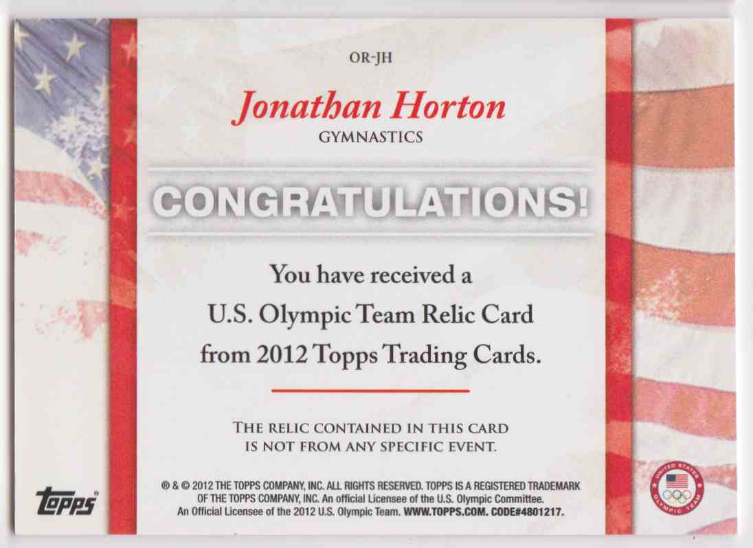 2012 Topps U.S. Olympic Team Relic Jonathan Horton #OR-JH card back image