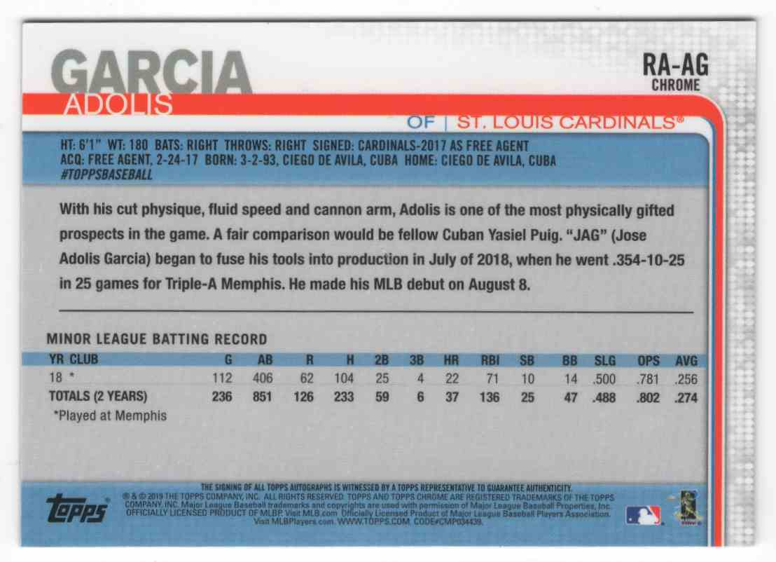 2019 Topps Chrome Rookie Autographs Adolis Garcia #RAAG card back image