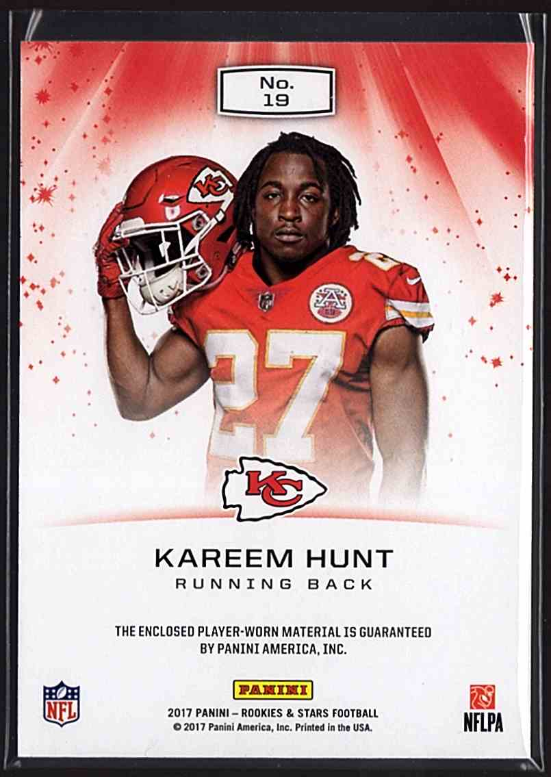 2017 Rookies And Stars Star Search Jerseys Kareem Hunt #19 card back image