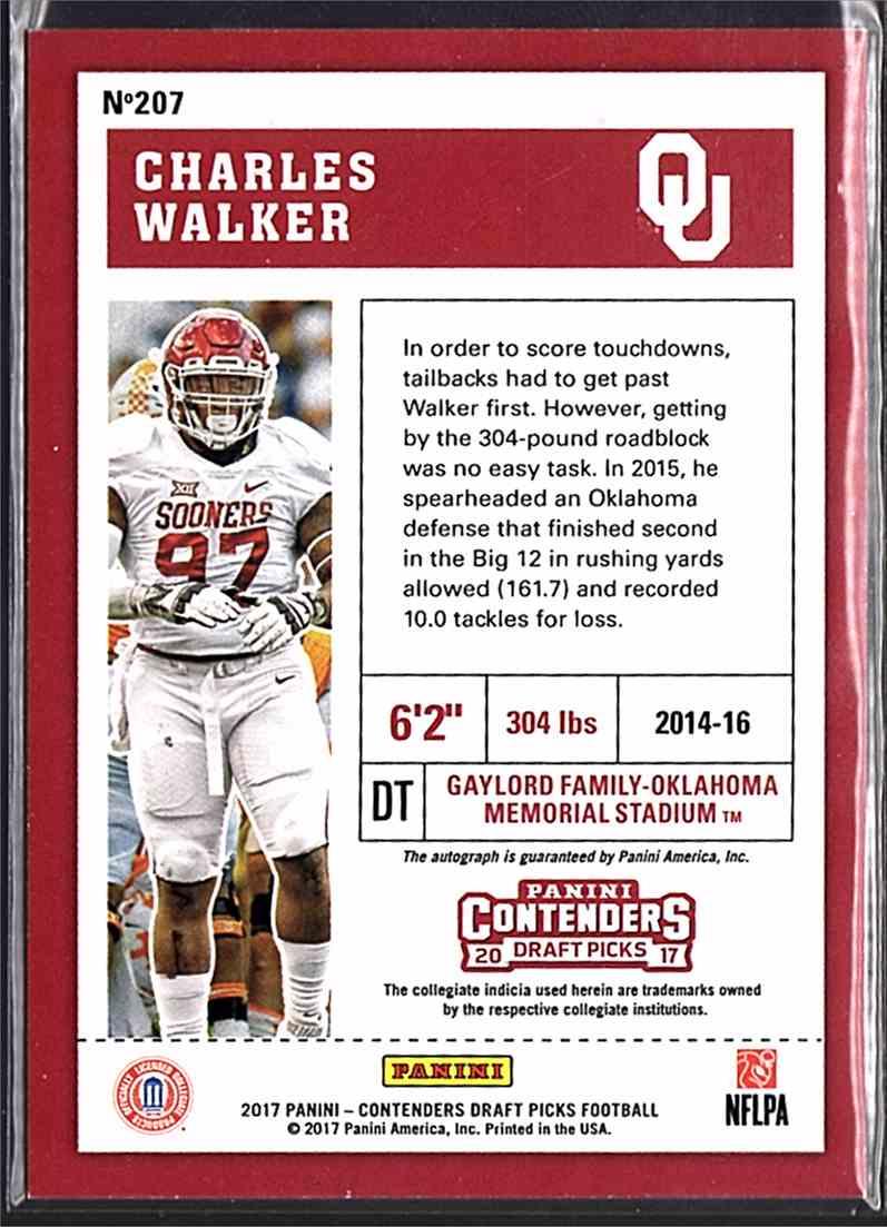 2017 Panini Contenders Draft Picks College Draft Ticket Blue Foil Charles Walker #207 card back image