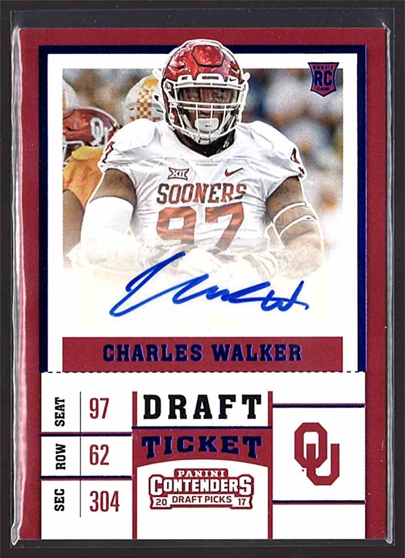 2017 Panini Contenders Draft Picks College Draft Ticket Blue Foil Charles Walker #207 card front image