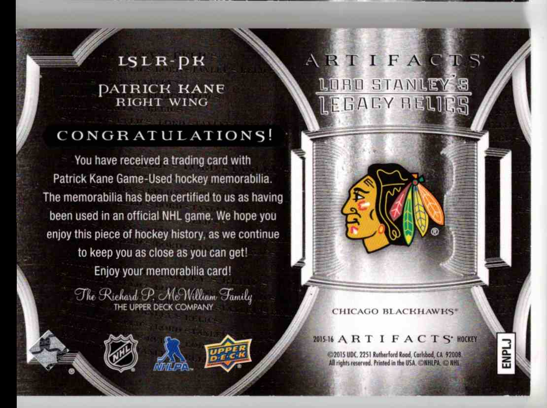 2015-16 Upper Deck Artifacts Lords Stanley's Legacy Relics Gold Patrick Kane #LSLR-PK card back image