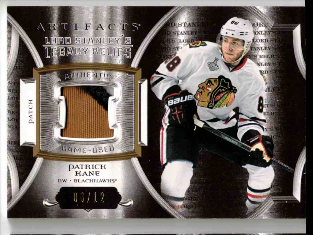 2015-16 Upper Deck Artifacts Lords Stanley's Legacy Relics Gold Patrick Kane #LSLR-PK card front image