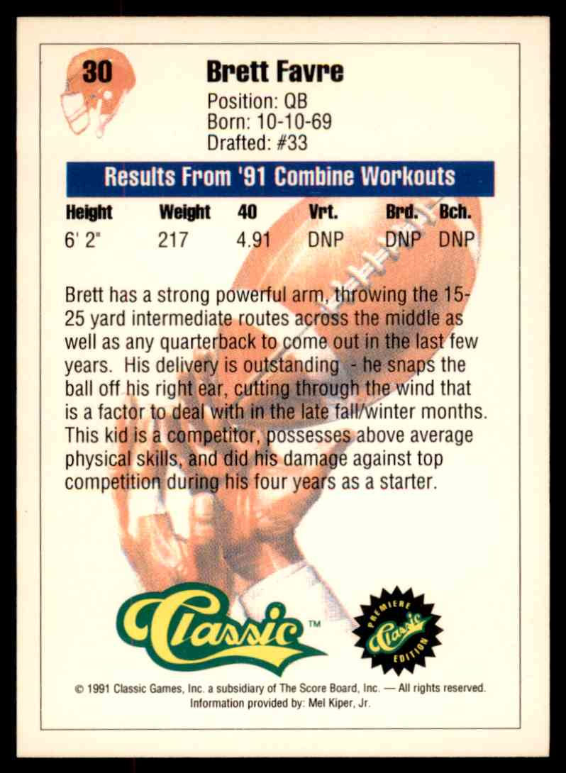1991 Classic Premiere Draft Picks Brett Favre 30 On Kronozio