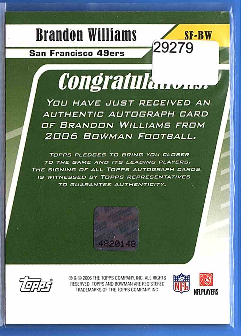 2006 Bowman Signs Of The Future Brandon Williams F #SFBW card back image