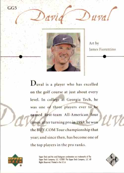 2001 Upper Deck Gallery David Duval #GG5 card back image