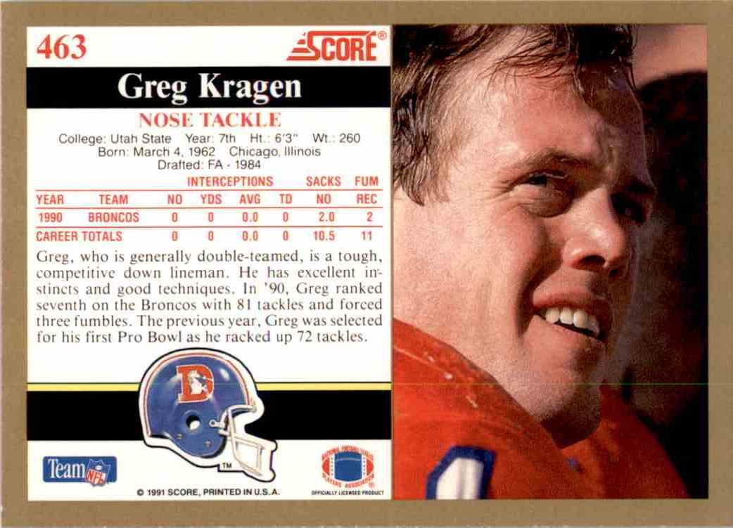 1991 Score Greg Kragen #463 card back image