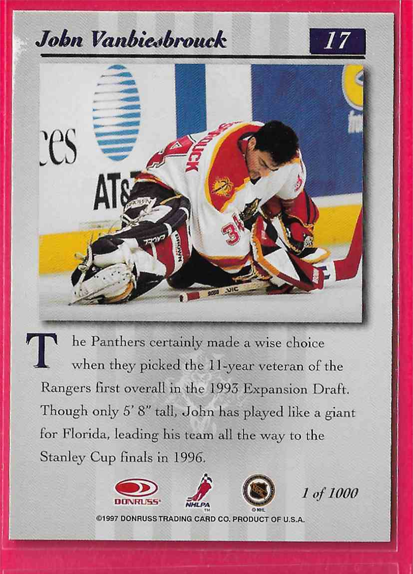 1997-98 Donruss Studio Silver Press Proof John Vanbiesbrouck #17 card back image