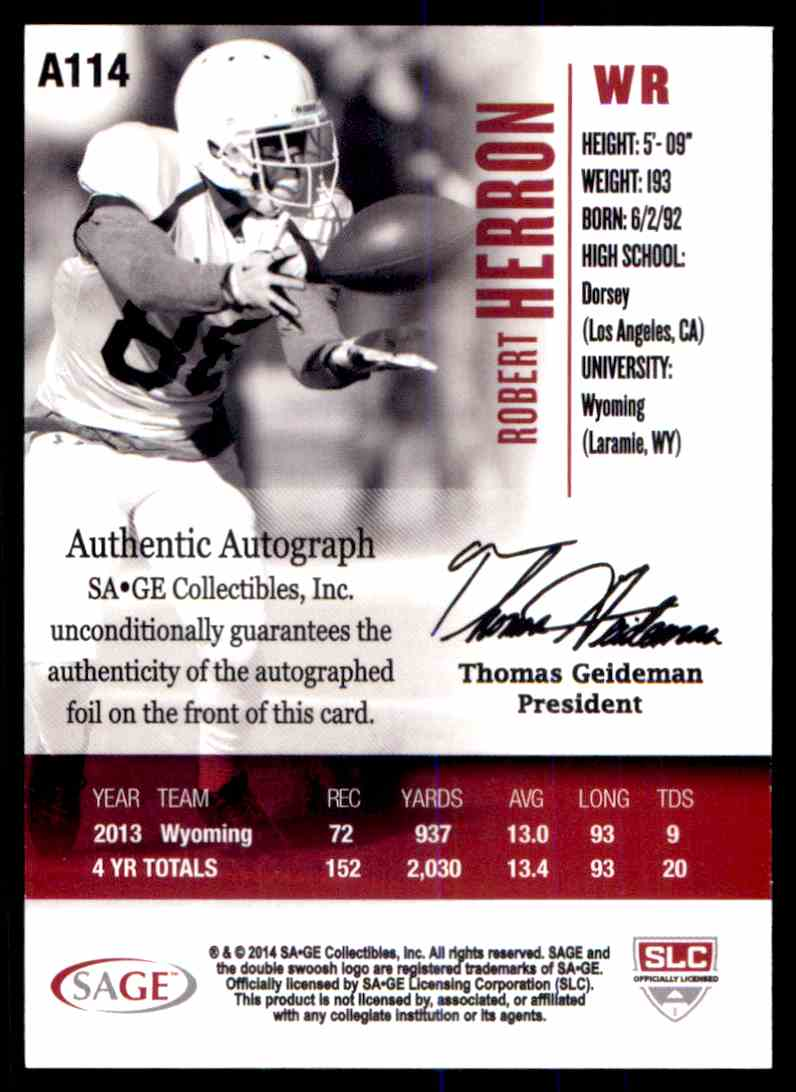 2014 Sage Hit Robert Herron card back image