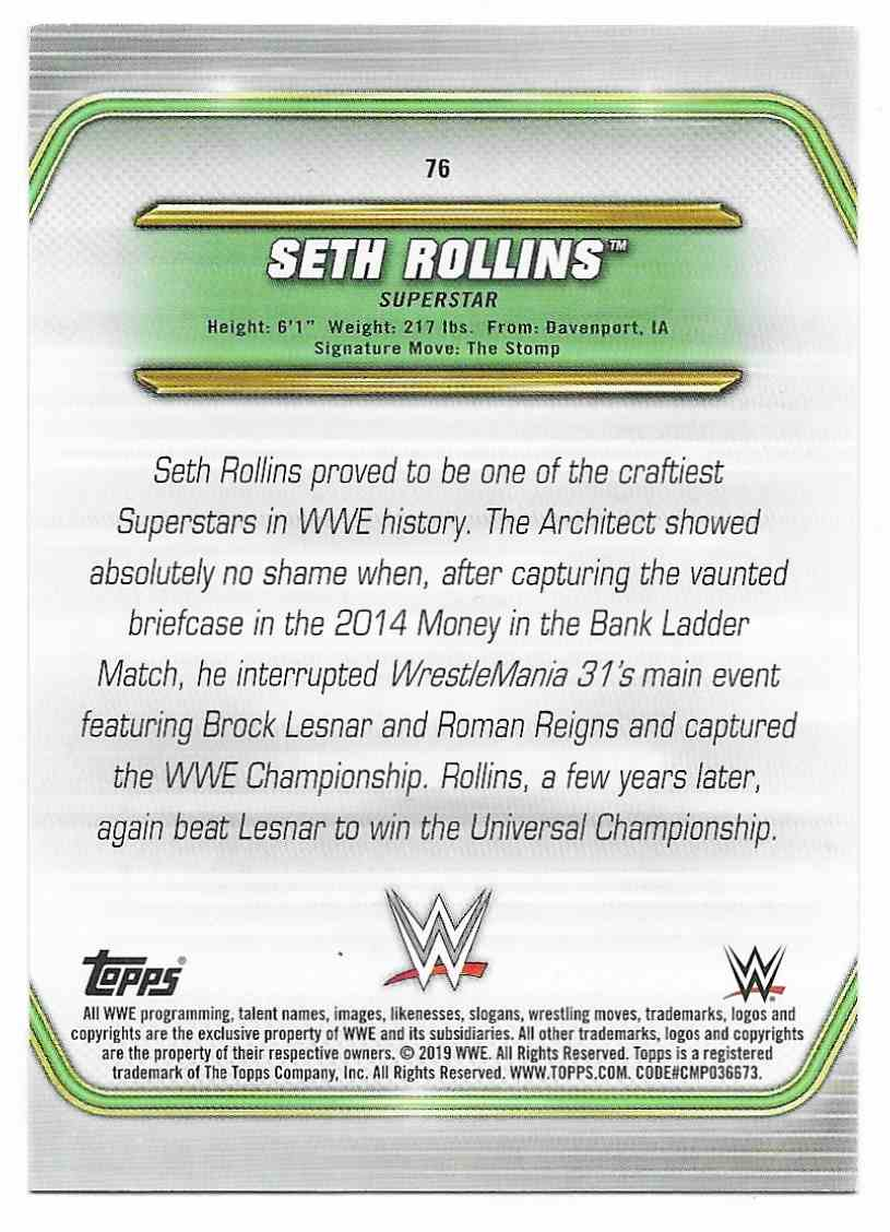 2019 Topps Wwe Money In The Bank Green Seth Rollins #76 card back image