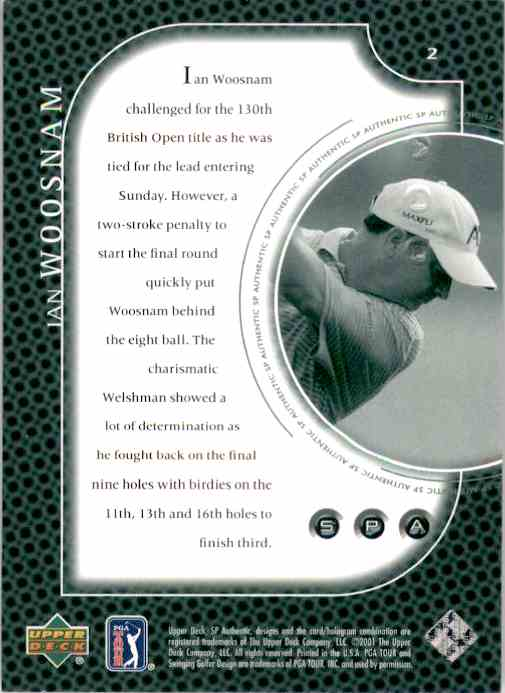2001 SP Authentic Preview Ian Woosnam #2 card back image