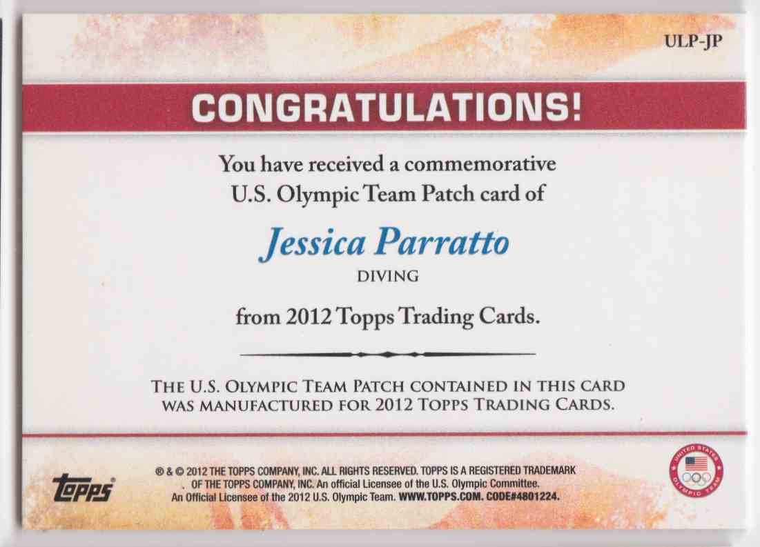 2012 Topps U.S. Olympic Team Patch Jessica Parratto #ULP-JP card back image