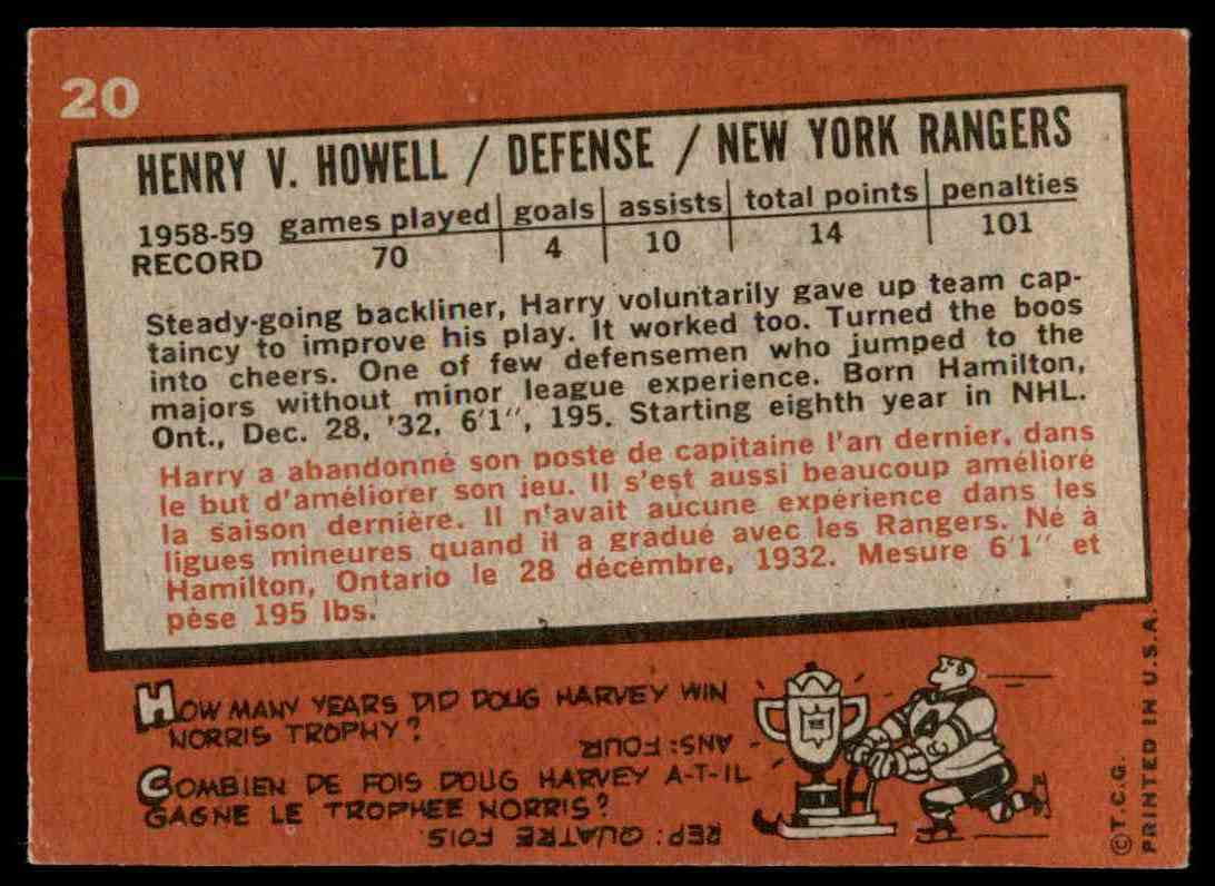 1959-60 Topps Harry Howell (B) #20 card back image