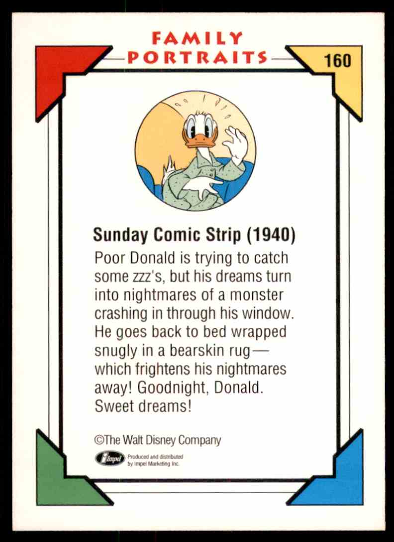 1991 Disney Series One Sunday Comic Strip 1935 - Donald #160 card back image