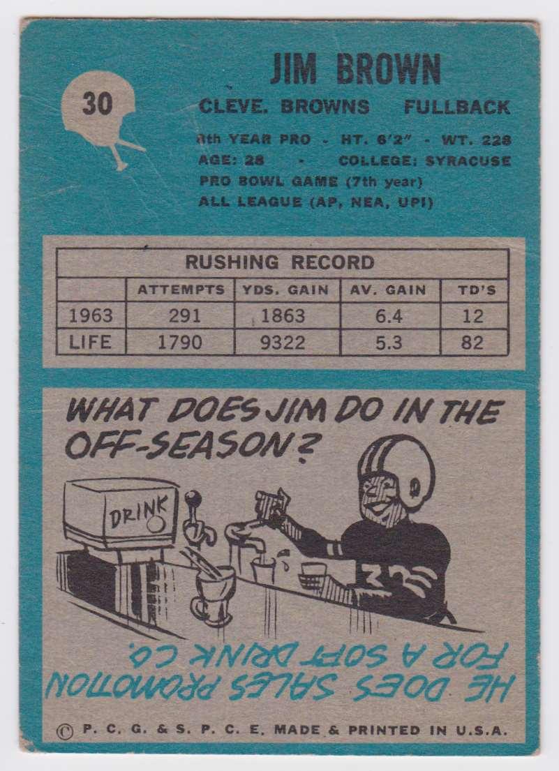 1964 Pcg Jim Brown #30 card back image
