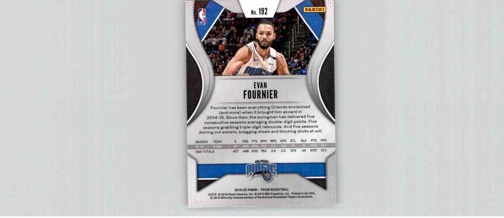 2019-20 Panini Prizm Basketball Prizm Evan Fournier #192 card back image