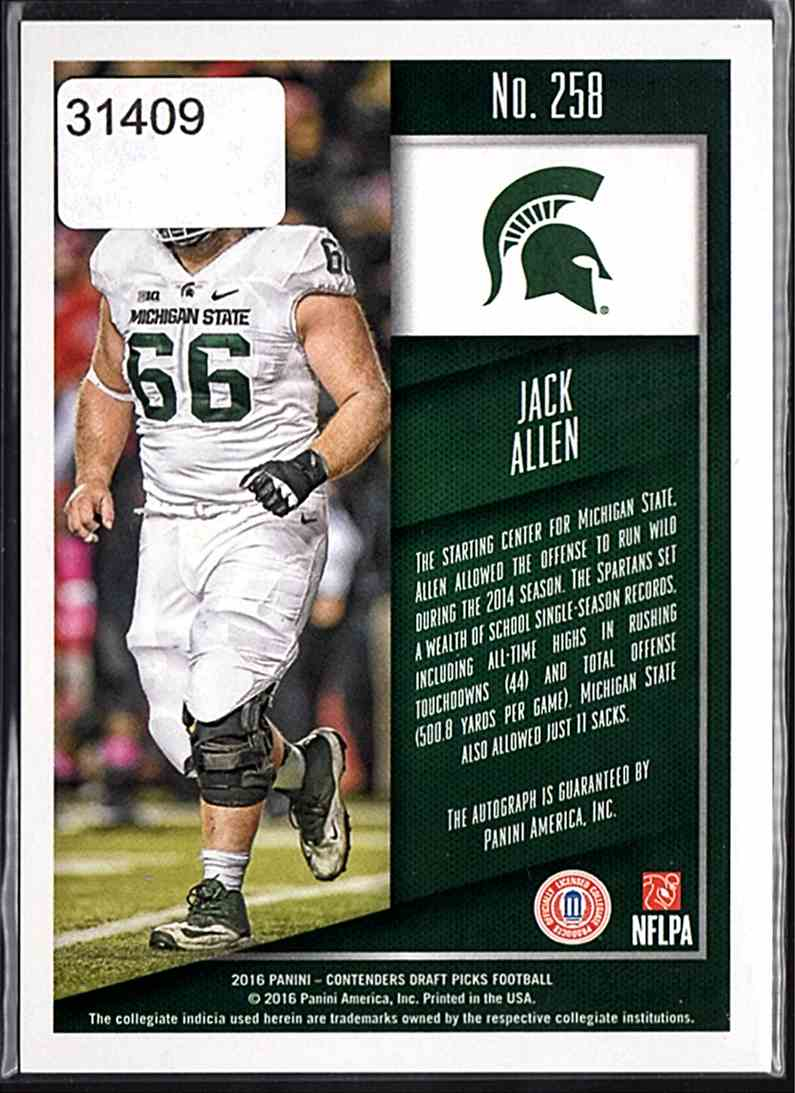 2016 Panini Contenders Draft Picks Jack Allen #258 card back image