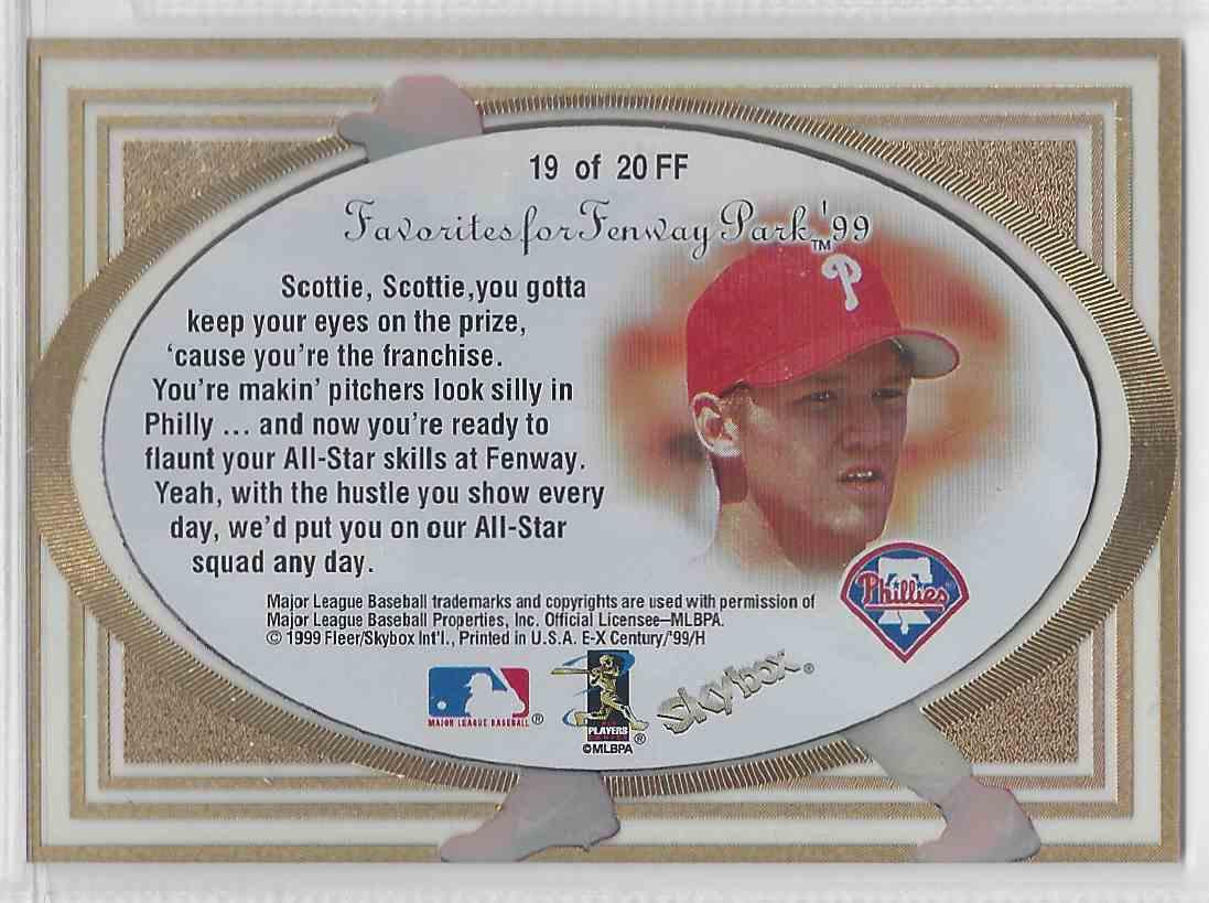 1999 Fleer / Skybox Favorites For Fenway Scott Rolen #FF 19 card back image