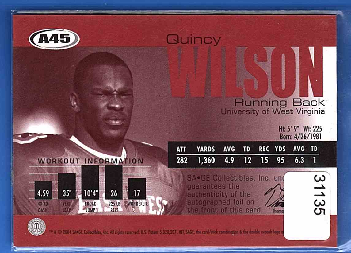 2004 Sage Autographs Red Quincy Wilson #A45 card back image
