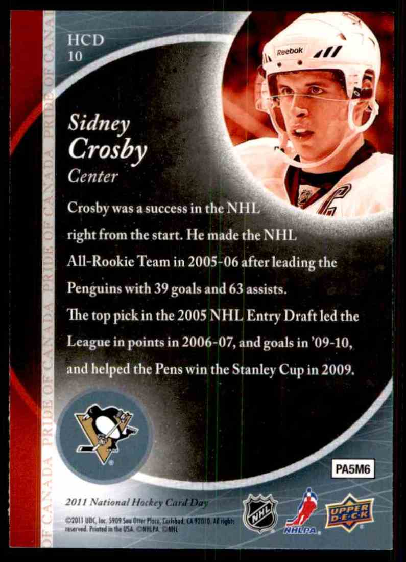 2010-11 Upper Deck National Hockey Card Day Sidney Crosby #HCD10 card back image