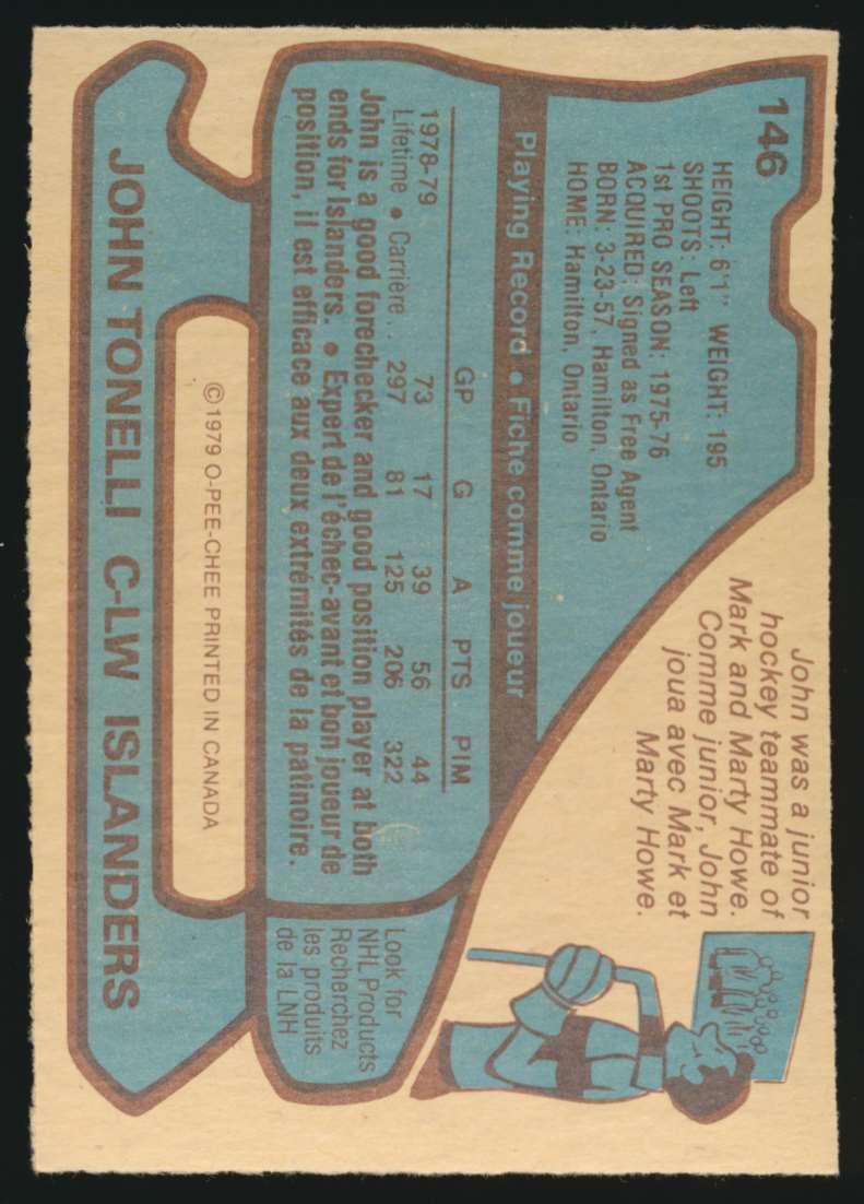 1979-80 OPC John Tonelli #146 card back image