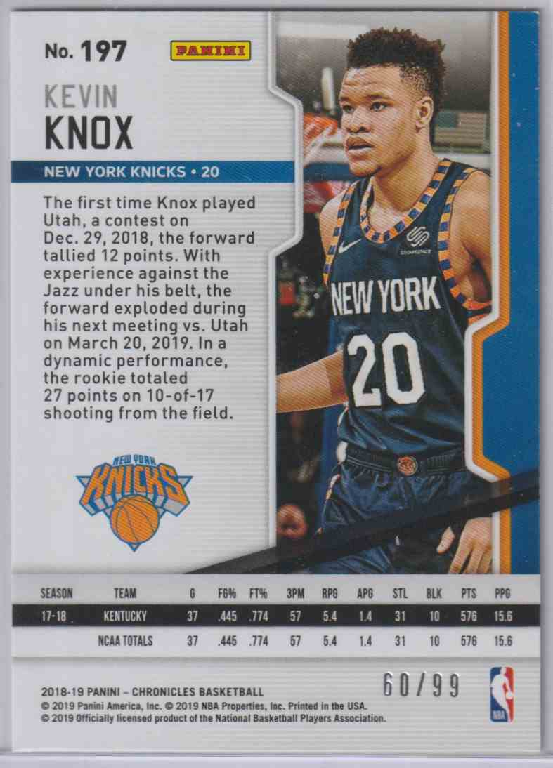 2018-19 Panini Chronicles Playoff Rookies Blue Kevin Knox #197 card back image