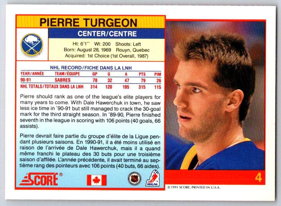 1991-92 Score Canadian Bilingual Pierre Turgeon #4 card back image