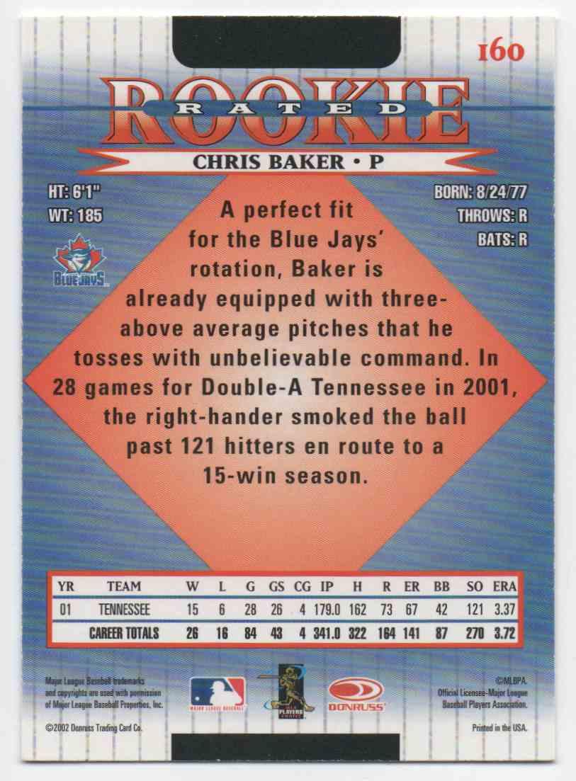2002 Donruss Chris Baker #160 card back image