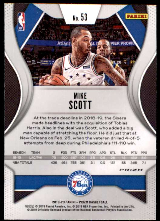 2019-20 Prizm Red White Blue Mike Scott #53 card front image