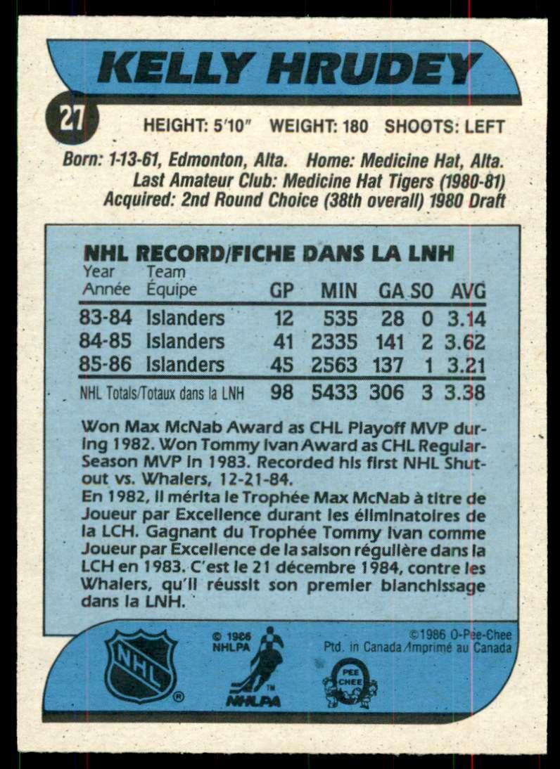 1986-87 OPC Kelly Hrudey #27 card back image