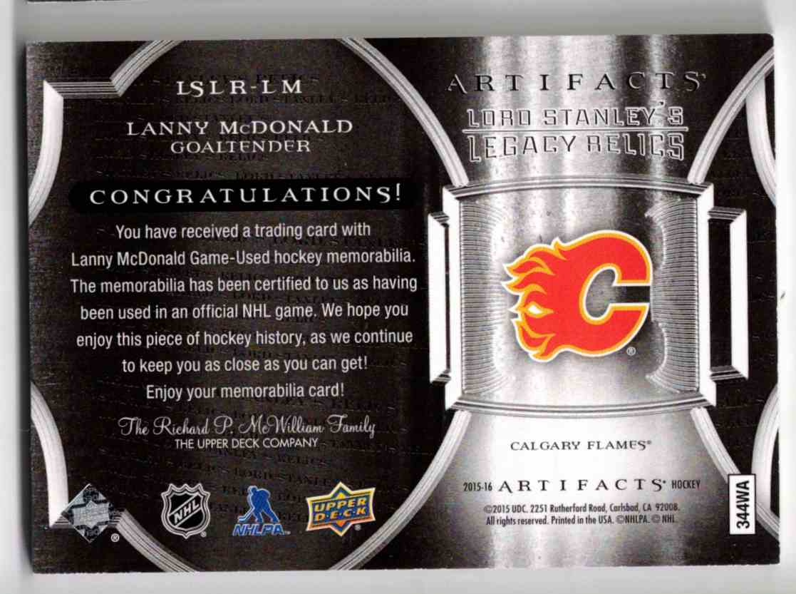 2015-16 Upper Deck Artifacts Lord Stanley's Legacy Relics Gold Lanny McDonald #LSLR-LM card back image