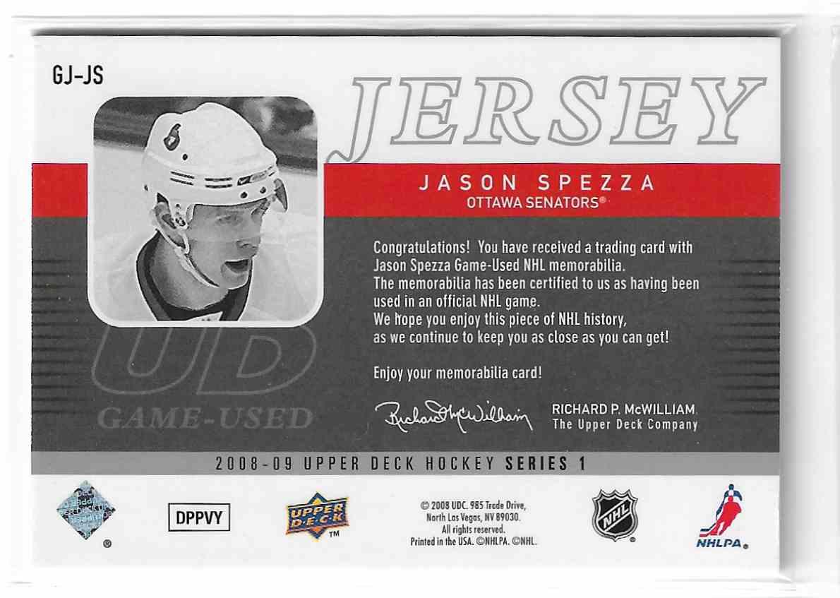 2008-09 Upper Deck UD Game Jersey Jason Spezza #GJ-JS card back image