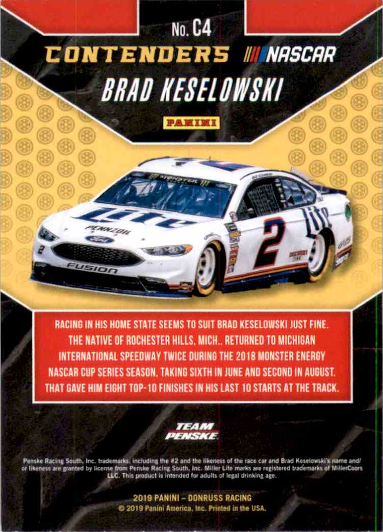 2019 Donruss Contenders Brad Keselowski #C4 card back image
