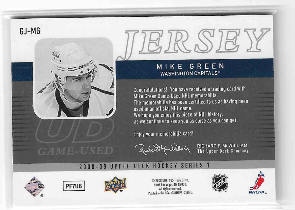 2008-09 Upper Deck UD Game Jersey Mike Green #GJ-MG card back image