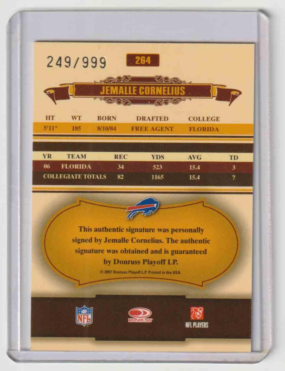 2007 Donruss Classics Jemalle Cornelius #264 card back image