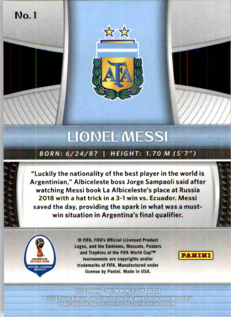 2018 Panini Prizm World Cup Lionel Messi #1 card back image
