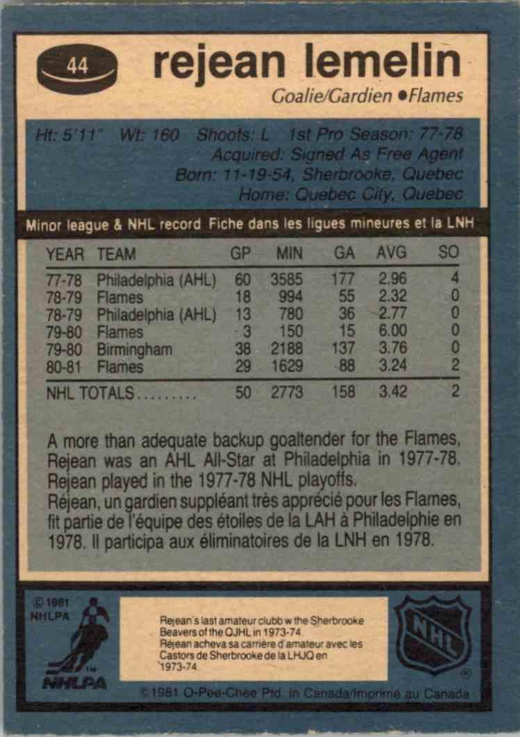 1981-82 O-Pee-Chee Rejean Lemelin #44 card back image