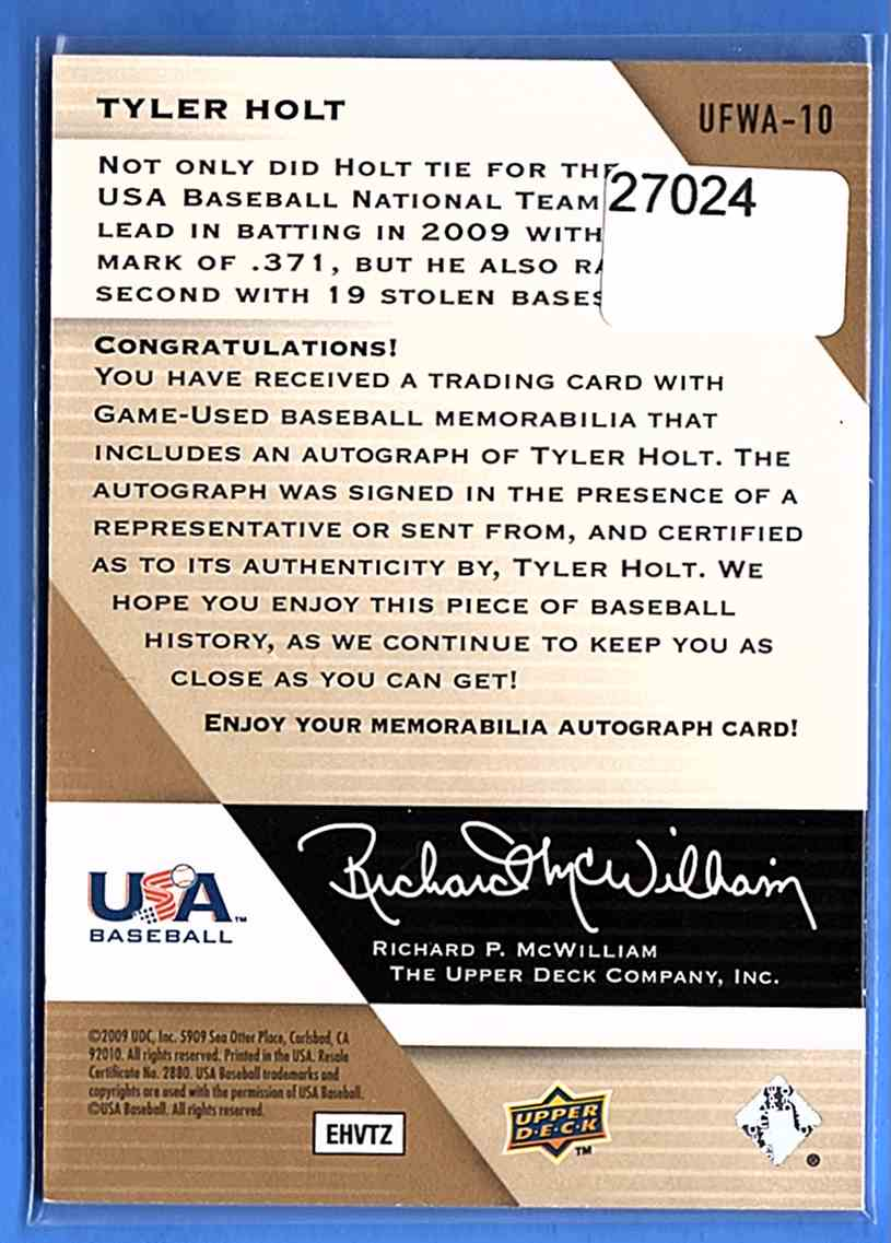 2009 Upper Deck Signature Stars USA National Team Future Watch Jersey Autographs Tyler Holt #UFWA10 card back image