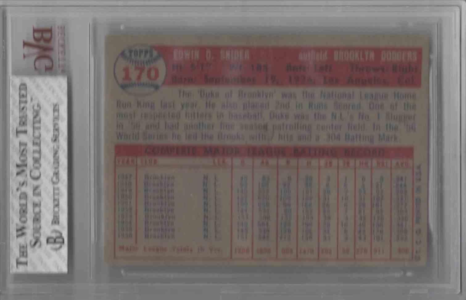 1957 Topps Duke Snider #170 card back image