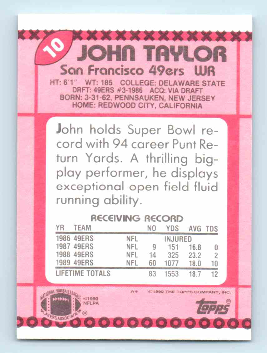 6d9f22720428 Real card back image 1990 Topps Collector s Edition   Tiffany   John Taylor   10 card back image