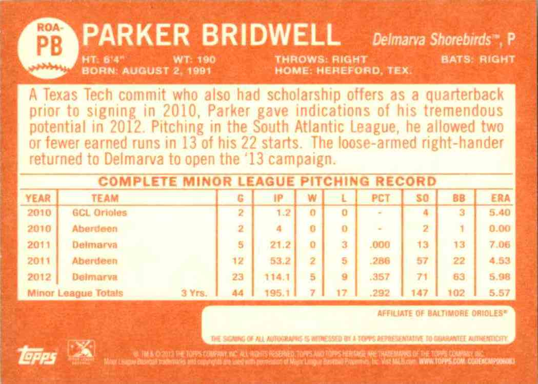 2013 Topps Heritage Minors Real One Autographs Parker Bridwell #PB card back image