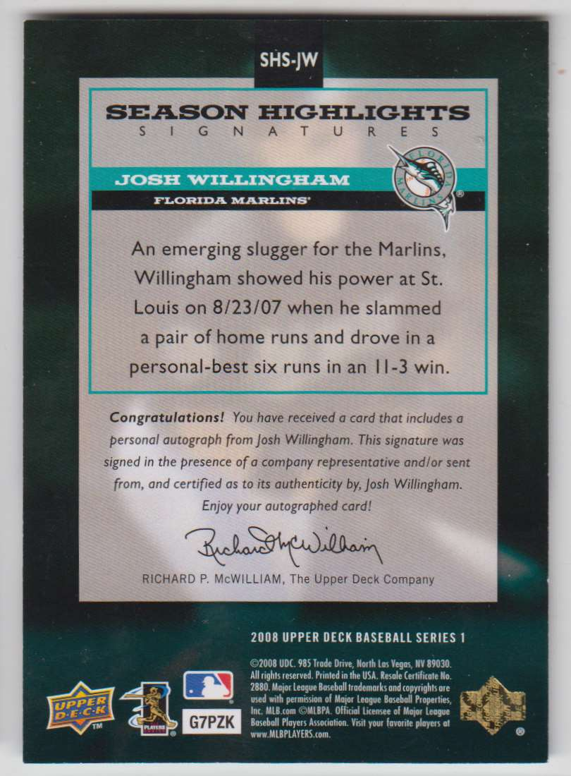 2008 Upper Deck Season Highlights Signatures Josh Willingham #SHS-JW card back image