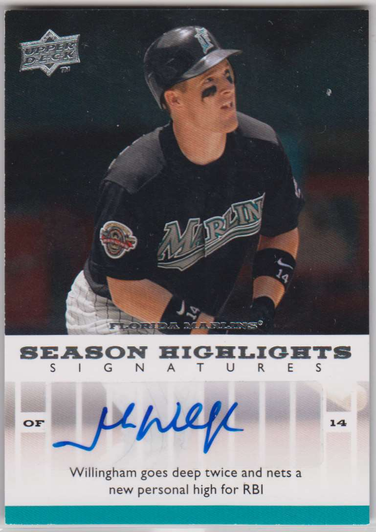 2008 Upper Deck Season Highlights Signatures Josh Willingham #SHS-JW card front image